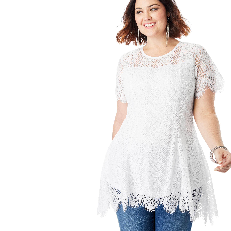 2a6e99f690b11 Roaman s - Plus Size Lace Flutter Tunic With Handkerchief Hem - Walmart.com