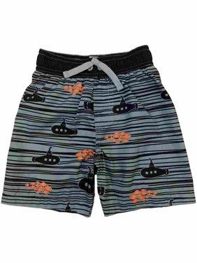 Toddler Boys Navy Blue Submarine & Fish Striped Swim Trunks Board Shorts