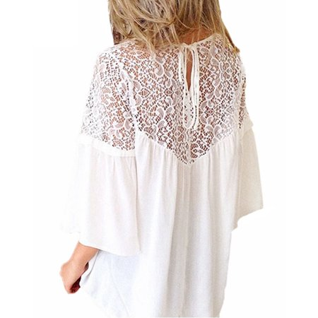 Summer Women Lace Splicing Shirt Casual Loose Solid Blouse Tie 3/4 Sleeves Round Neck Female Top White/Black - image 2 de 7