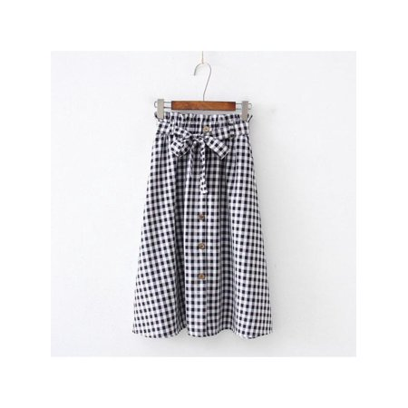 Funcee Slim Women Button Down High Waist Plaid Skirts,with Belt