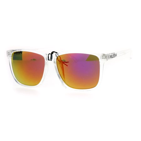 Kush Mens Color Mirrored Lens Clear Frame Rectangular Sport ...