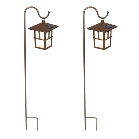 Winsome House Paa Hanging Solar Lanterns With Shepherds Hooks Set Of 2