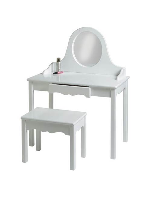 Kid's Vanity and Bench w Round Acrylic Mirror (Lavender) by Little Colorado, LLC
