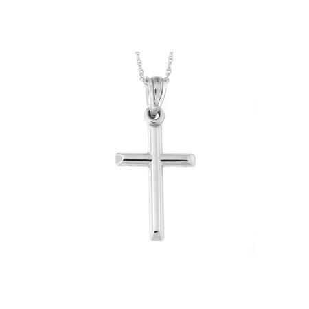 14k White Gold Domed Cross Pendant Necklace (White Gold Cross Necklace)