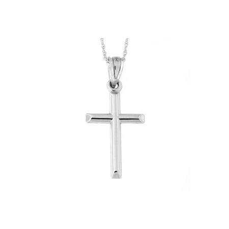14k White Gold Domed Cross Pendant Necklace
