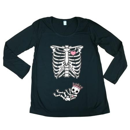 Long Sleeve Princess Crown Baby Girl Skeleton Mommy Mom Maternity DT T-Shirt Tee (Skeleton Princess)