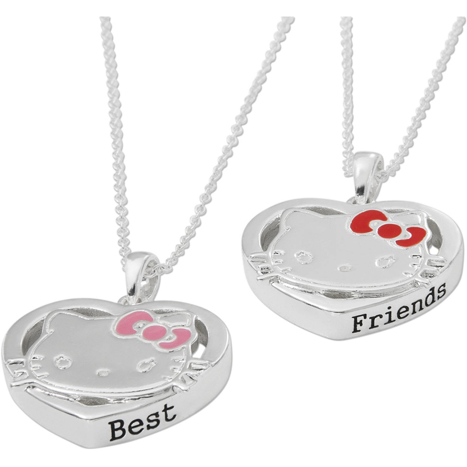 "Hello Kitty  Silver-Plated BFF Pendants Set , 18"" chain"