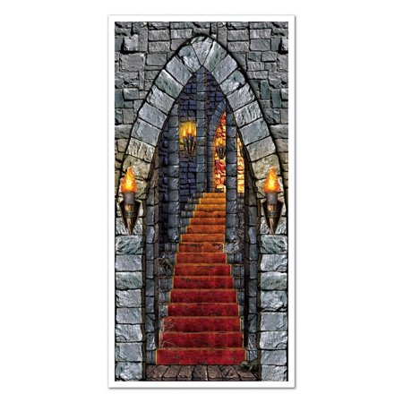 Club Pack of 12 Halloween Themed Medieval Castle Entrance Halloween Door Cover Party Decorations 5'