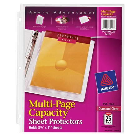 Avery Diamond Clear Multi-Page Capacity Sheet Protectors, Acid-Free, 25 Protectors (74171) Plastic Paper Sleeves