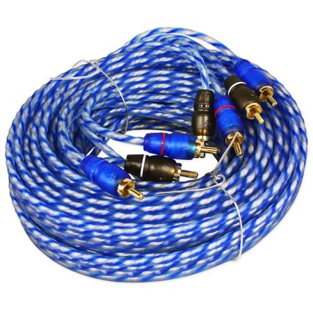 6m Twisted Pair Rca Cable - Rockville RTR204 20 Foot 4 Channel Twisted Pair RCA Cable Split Pin, 100% Copper