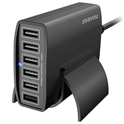 charging station, zeavou (60w 12a 6-port) multiple usb charger for apple iphone / ipad, tablets, samsung galaxy, htc, and many other smartphones and portables - black