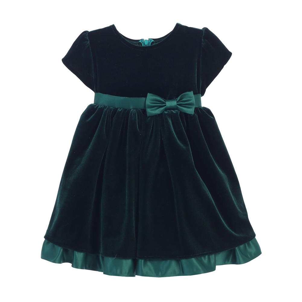 Sweet Kids Baby Girls Hunter Green Stretch Velvet Holiday ...