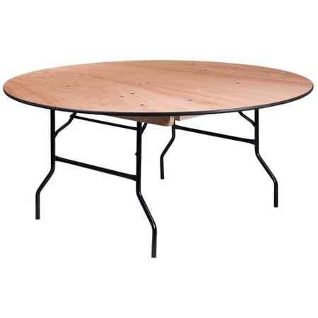 Flash Furniture 66'' Round Wood Folding Banquet Table with Clear Coated Finished - Natural Wood Round Table