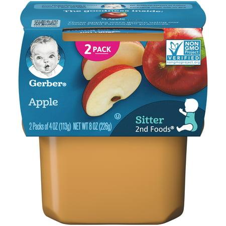 Gerber 2nd Foods Apple Baby Food, 4 oz. Tubs, 2 Count (Pack of 8) ()