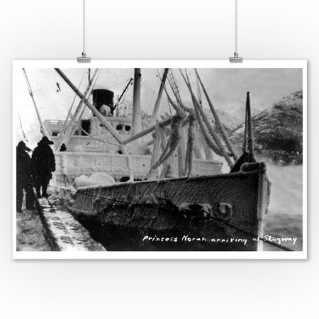 - Skagway, Alaska - Princess Norah Ship Arriving (9x12 Art Print, Wall Decor Travel Poster)