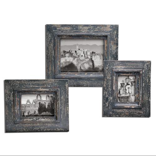 "Set of 3 Rustic Distressed Slate Blue & Gray Wood Photo Frames 15"""