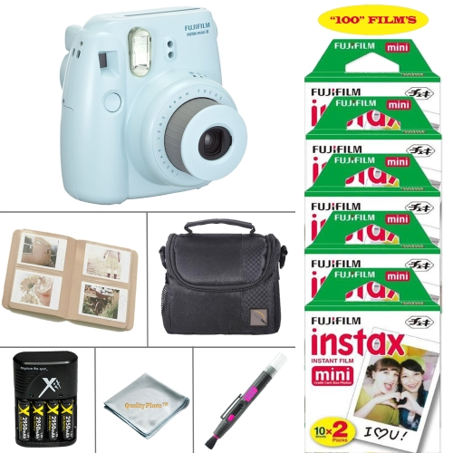 Fujifilm Mini 8 Instant Film Camera - Fujifilm Instax Film 100 PCS - Battery & Cahrger - Photo Album - Case