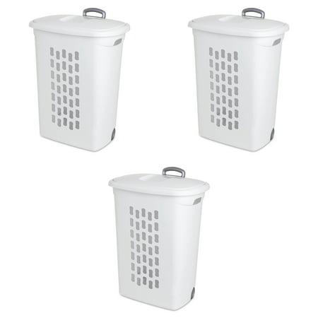 Sterilite Ultra™ Wheeled Hamper White Case of 3