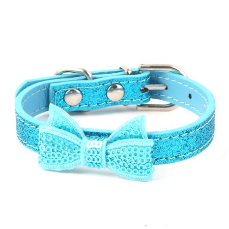 Dog Cat Leather Collar (Metal Buckle Faux Leather Bowknot Decoration Cat Dog Puppy Collar Blue Size)