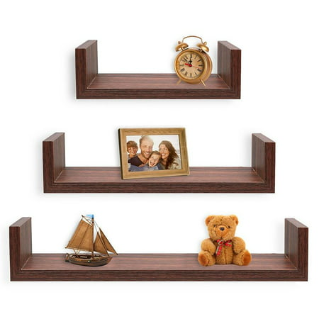 Greenco Set of 3 Floating U Shelves, Walnut Finish