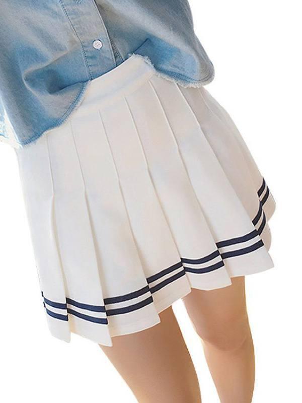 Lavaport Women Big Girls High Waist School Pleated Skirt