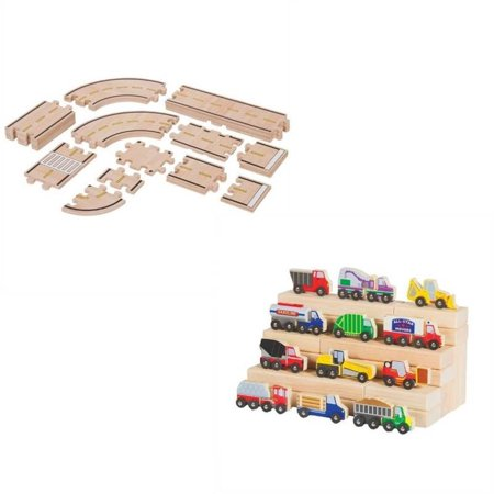 Boys Toys Set with Toy Cars and Trucks and Roadway -