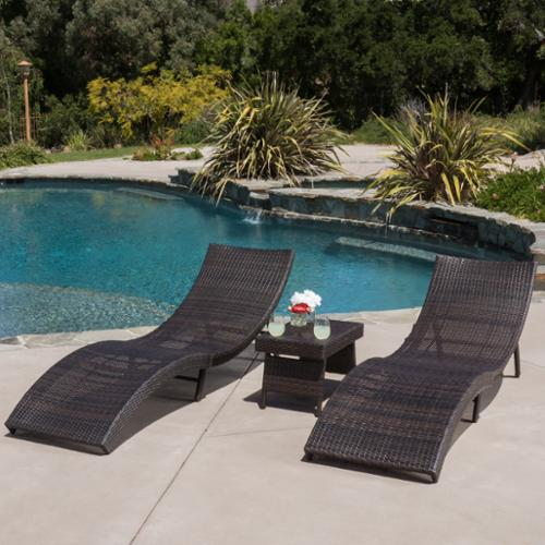Alvin Outdoor 3pc Wicker Folding Chaise Lounge Chair & Table Set