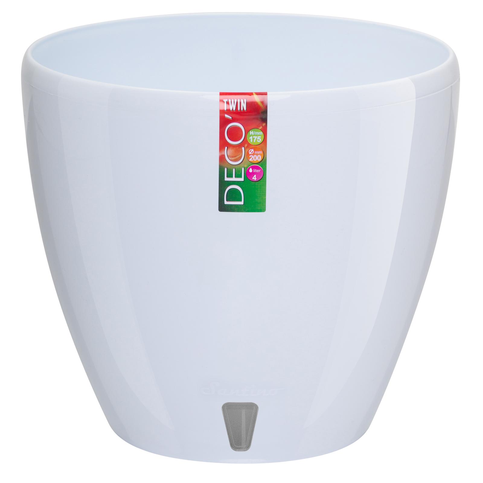 Santino Self Watering Planter DECO 8.8 Inch White Flower Pot by Santino