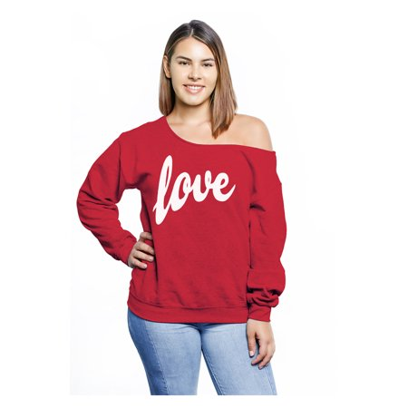 89eb4e110a9028 Awkward Styles Off Shoulder Love Curvy Plus Sweatshirt Plus Size Sweaters  for Women Love Sweater Off The Shoulder for Curvy Women Casual Loose Fit  Sweater ...