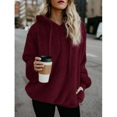Women's Pullover Hoodie for Women, Long Sleeve Hooded Fleece Sweatshirts for Juniors, Wine Red / Gray Warm Fuzzy Zip Up Hoodies Pullover Tops for Ladies, (3/4 Sleeve Hoodie)