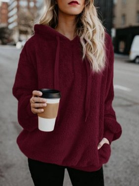e09ec50c34a5 Product Image Women's Pullover Hoodie for Women, Long Sleeve Hooded Fleece  Sweatshirts for Juniors, Wine Red