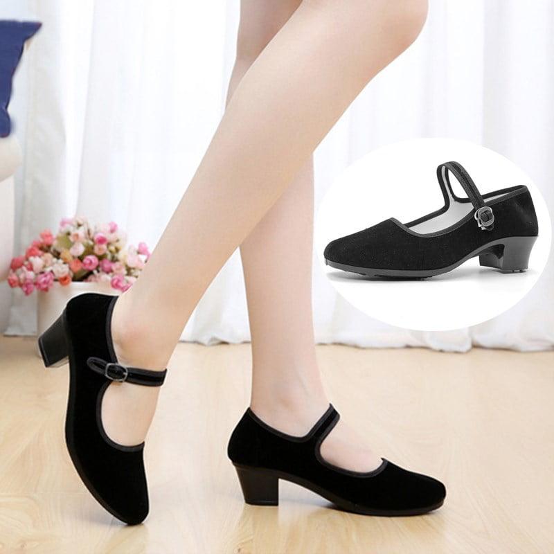 Womens Ladies Mid Wedge Heel Mary Jane Dance Office Work Formal Strap Shoes