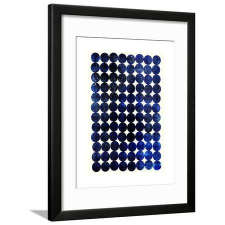 Unity Indigo Scandinavian Abstract Circles Framed Print Wall Art By Garima Dhawan