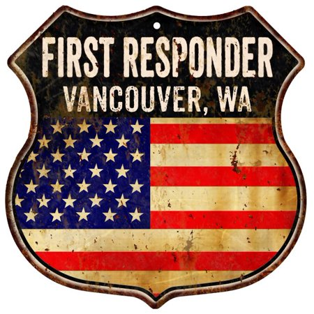 VANCOUVER, WA First Responder USA 12x12 Metal Sign Fire Police 211110022135 ()