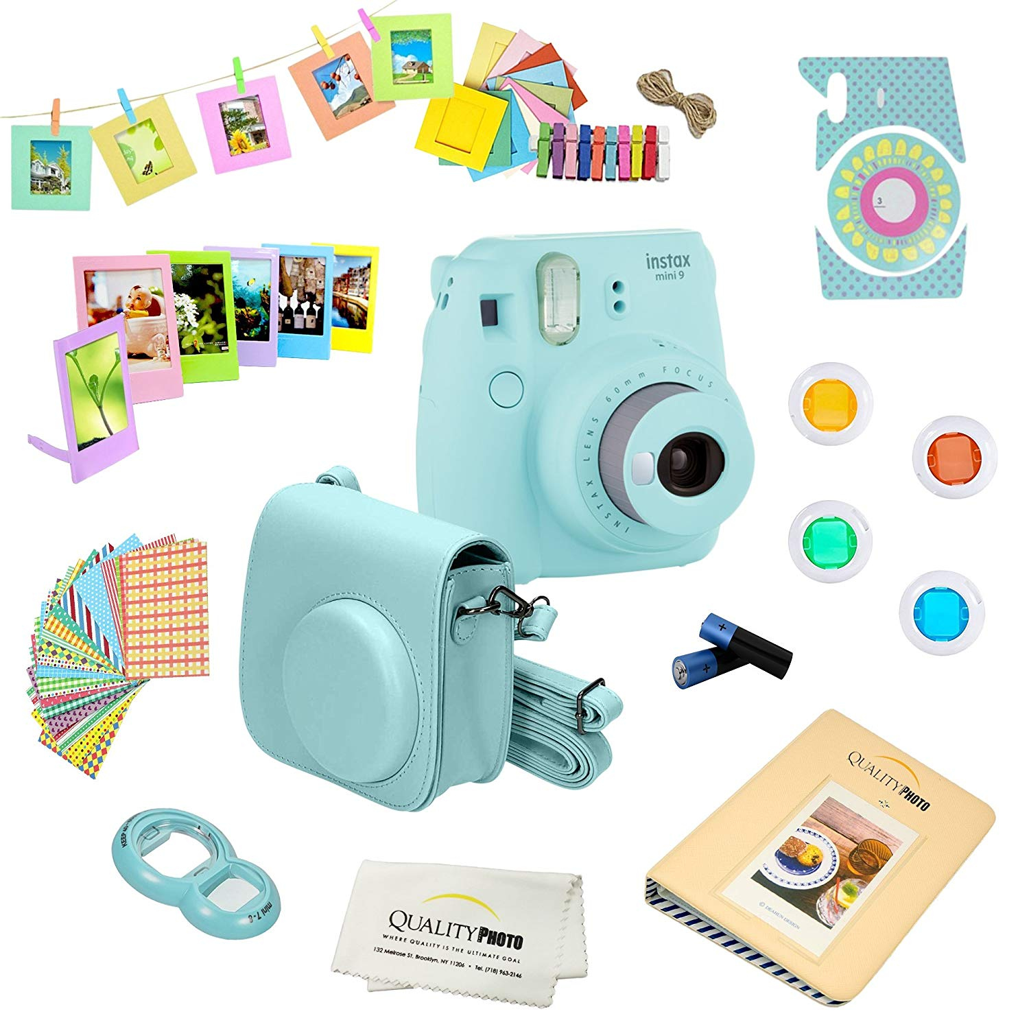 Fujifilm Instax Mini 9 Instant Camera COBALT BLUE + 15 Pcs Instax Instant Camera Accessory Bundle Kit. Includes Instax Case, 4 Color Lenses, Frames, Stickers + MORE