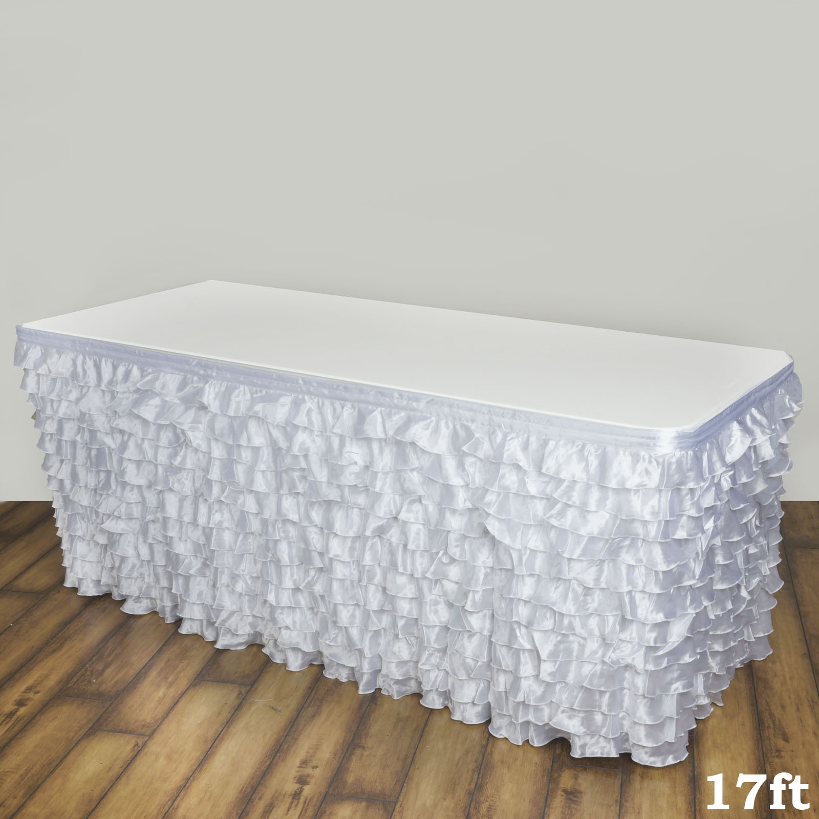 BalsaCircle White Satin Ruffled Banquet Table Skirt - Wedding Party Trade Show Booth Events Linens Decorations