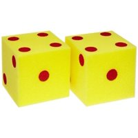 """School Specialty Giant Foam Dice, 5"""", Yellow with Red, Set of 2"""