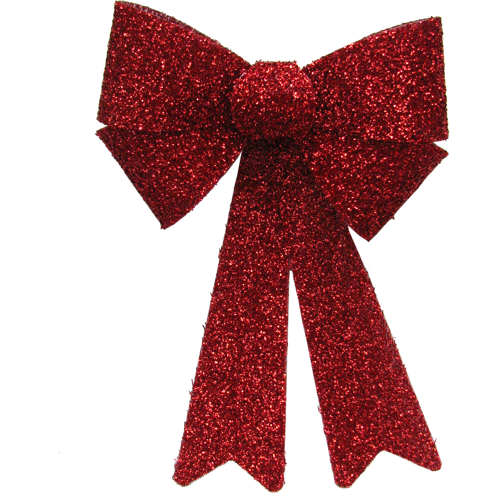 "Holiday Time Christmas Decor Red 15"" Tinsel Bow"