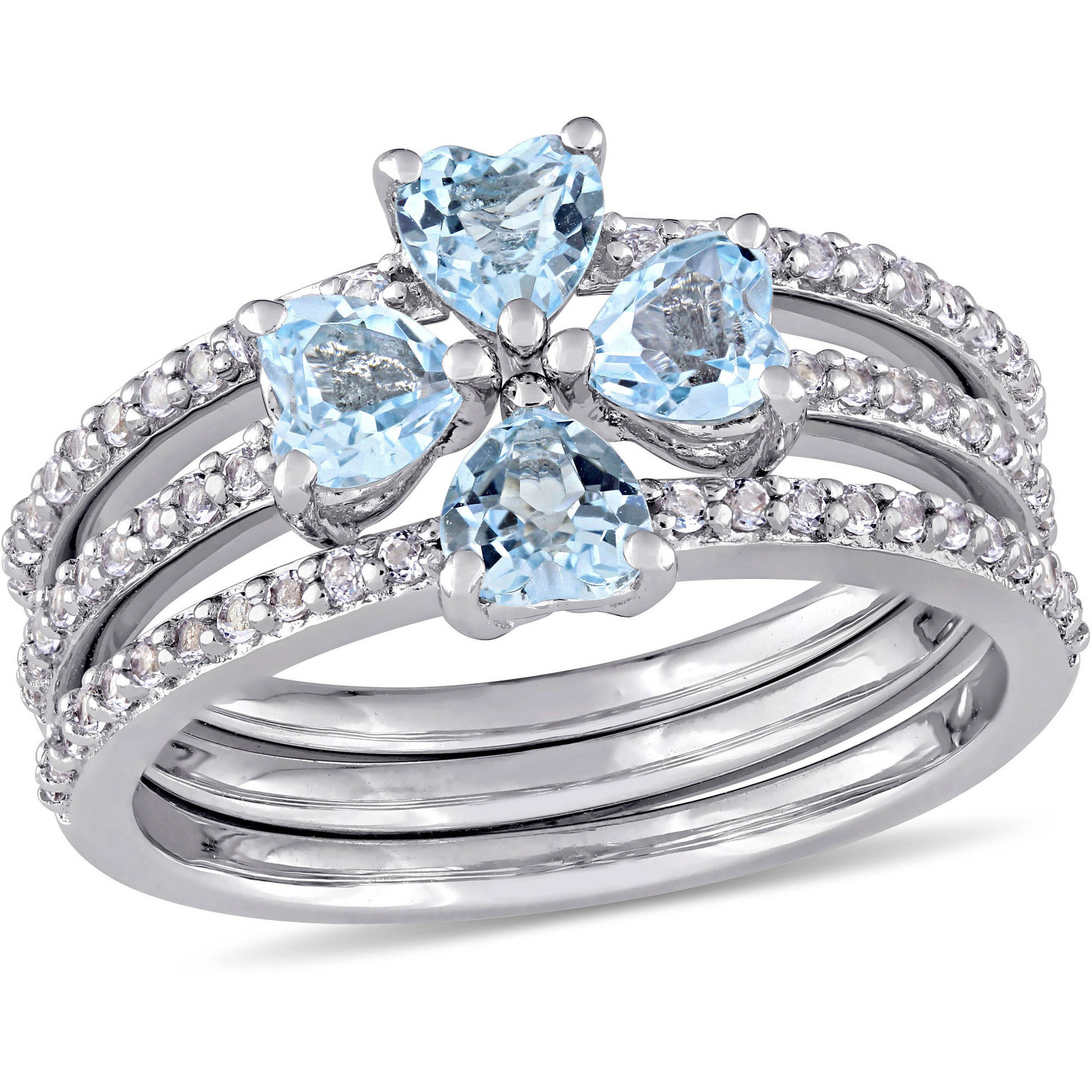 Tangelo 1-1 2 Carat T.G.W. Heart-Cut Sky Blue and White Topaz Sterling Silver Floral Three-Piece Ring Set by Tangelo