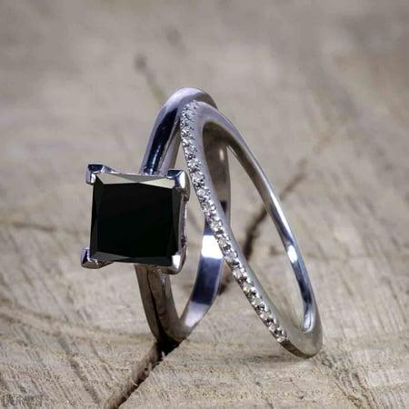 Vintage design 1.25 Carat Princess cut Black Diamond Wedding Set for Women in Black Gold