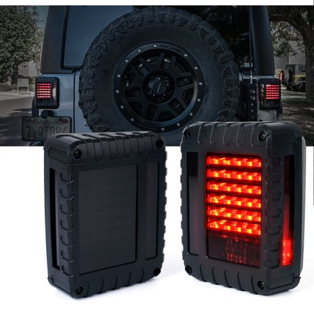 Xprite Defender Series LED Tail Light Assembly with Smoke Lens For Jeep Wrangler JK JKU 2007 - 2018 ()