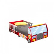 KidKraft Fire Truck Toddler Bed, Red, With Bed Rails