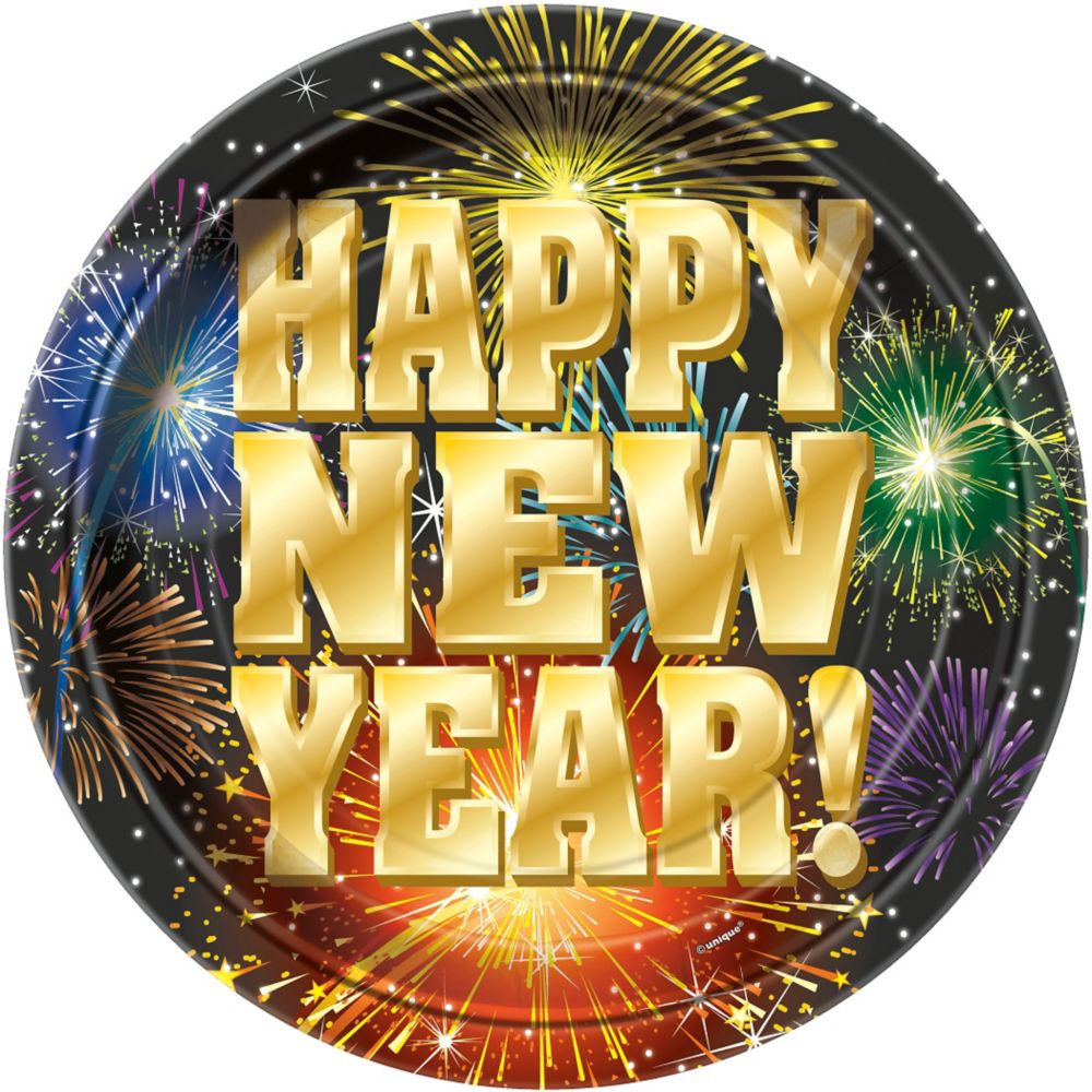 """Stellar New Year 9"""" Luncheon Plates (8 Pack) - New Year ..."""