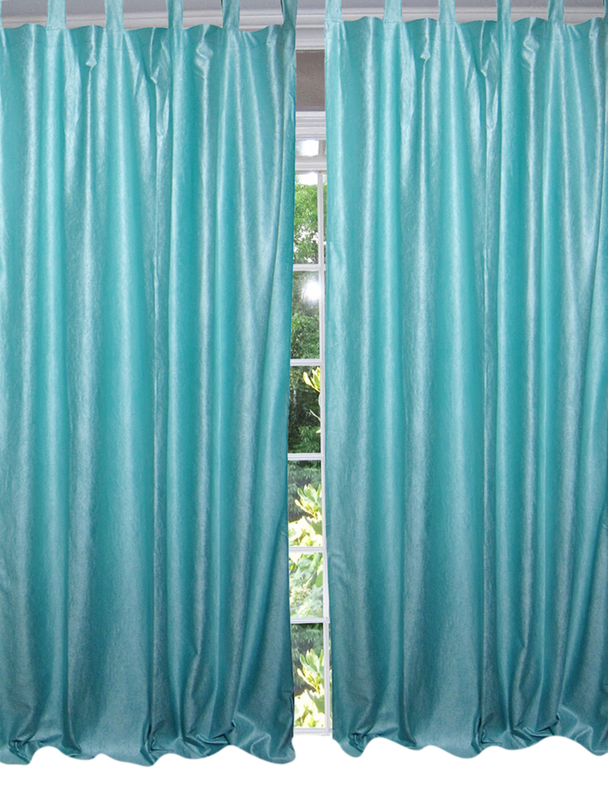 "Mogul Moroccan Curtain Blue Tab Top Drapes / Panel- Pair Indian Window Treatment ( Length: 108"".) …"