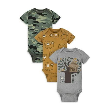 Gerber Organic Cotton Baby Boy Bear Bodysuit, 3 Pack