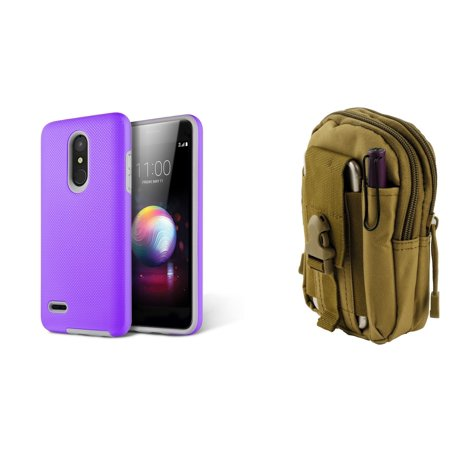 Anti-Slip Textured Grip Impact Resistant Case (Purple) with Khaki Tactical EDC MOLLE Utility Waist Pack Holder Pouch and Atom Cloth for LG Harmony 2 (Cricket)
