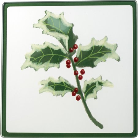 Glass Cutting Board Trivet (Celebrations by Precious Moments 171527 Christmas Holly Glass Cutting Board/Trivet 7-inches by)