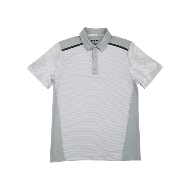 MSX By Michael Strahan Mens White & Gray Stripe Performance Jersey Polo Shirt