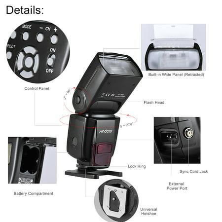 Andoer AD560 IV 2.4G Flash sans fil universel pour caméra Speedlite flash GN50 Ecran LCD pour Canon Nikon Olympus Pentax pour caméras DSLR Sony A7 / A7 II / A7S / A7R / A7S II - image 6 of 7