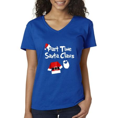 New Way 1123 - Women's V-Neck T-Shirt Part Time Santa Claus Christmas Saint Nick Small Royal Blue - Blue Santa Claus